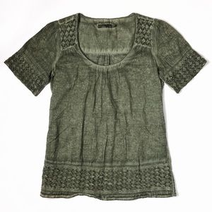 PrAna olive green dyed crochet tie back top